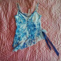 Śliczna bluzka top niebieska biała zwiewna dekolt V sexi