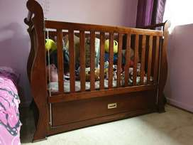 Wooden Baby Sleigh Cot with bottom drawer - Solid Kiaat Wood