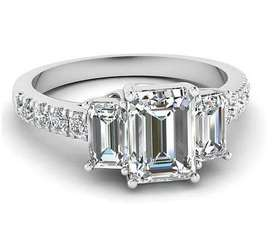 SOLID SILVER Emerald cut 2.00 ct set in Vintage scroll setting