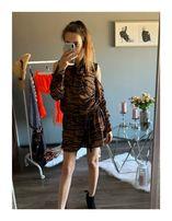 Brązowa/czarna sukienka w tygrysie paski z wiązaniem BY O LA LA S M