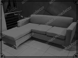 New grey fabric corner couch with metal legs