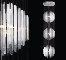 Lampa szklana GLASS 300 cm METAL SZKŁO ogromna 3 metry HOL nad schody