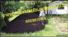 Compost and artficial grass lawn
