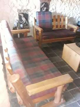 7 seater lounge suite - wood.