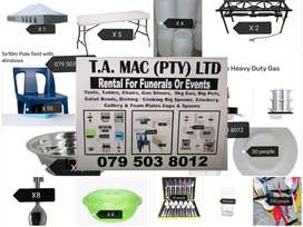 RENTAL FOR FUNERALS AND EVENTS ,tents tables chairs gas stove pots ens