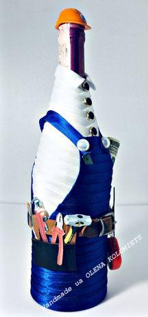 Украшение бутылки, подарок,одежда, костюм, каска, инструмент, handmad Киев - изображение 2