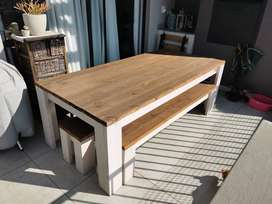 8 Seater Wooden Table + 2 Benches