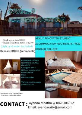 Student Accommodation , less than a kilometer to UKZN Howard College