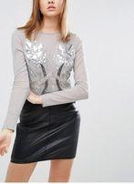 Nowa Wieczorowa Bluzeczka Asos Petite Siwa Z Kamieniami R.40(L)UK12