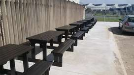 Patio outdoor wooden benches