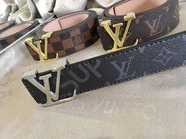 Кожаный брендовый ремень Луи Витон/Louis Vuitton