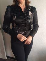Женская рубашка. Блуза из жатой атласной ткани.