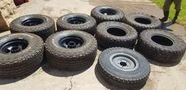 Land cruiser mags and tyres, spare wheel,and carier