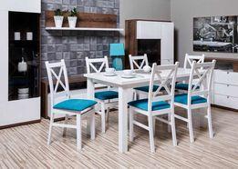 Biały Zestaw KRZYŻAK Stół + 6 Krzeseł Do Salonu/Jadalni W PROMOCJI!!!