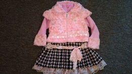 платье с жилеткой на зиму для девочки 4-5 лет