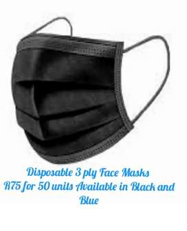 3 ply Disposable Masks Black and Blue pack of 50 units