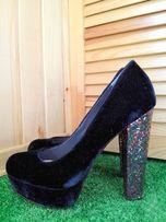 Женские туфли велюровые бархатные синего цвета