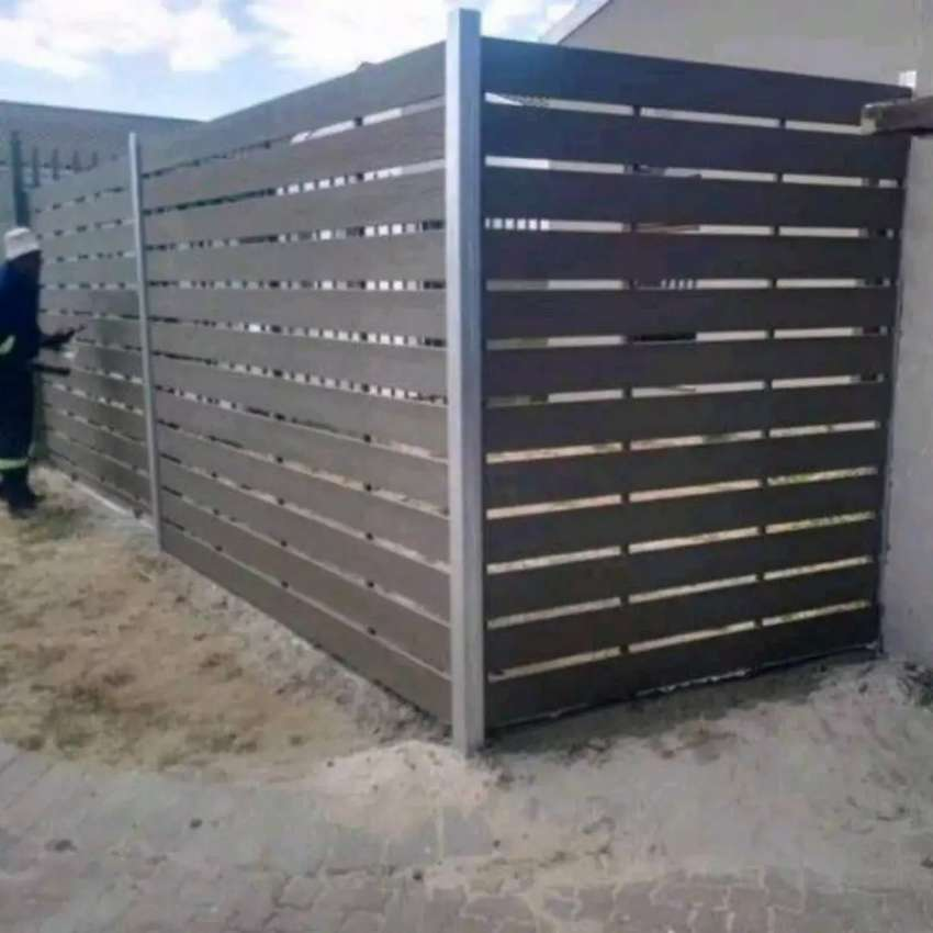 Galvanized Steel Framed Nutec Slated Gates And Fencing