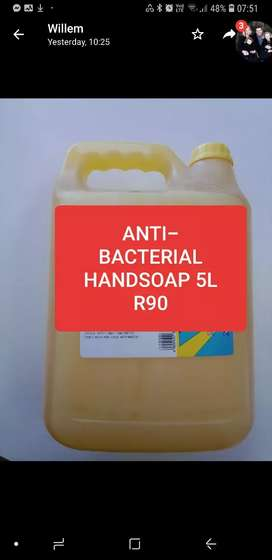 Anti - bacterial handsoap 5lt R90 25lt R400