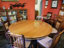 Antique Yellow wood table with 8 chairs