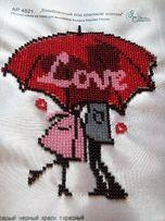 """картина бисером """"влюбленные под красным зонтом"""""""