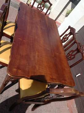 Imbuia wood dining table and chairs