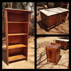 Book shelf, bed side table and chest