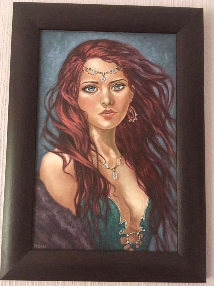 Tegz origial oil painting framed A3 red princess girl absract portrait 0