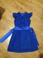 Нарядное шифоновое синее платье плаття