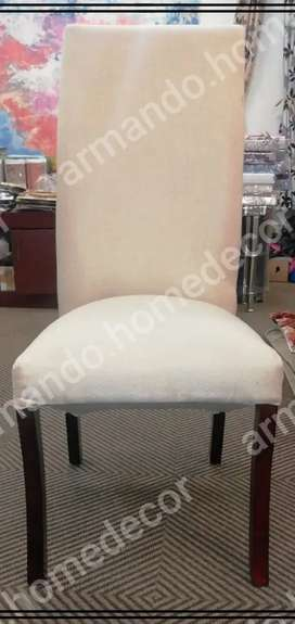 New set of cream fabric dining chairs