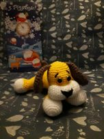 Желтая собачка, амигуруми, крючок