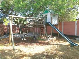 Wooden Swing Set, walkway, treehouse and slide