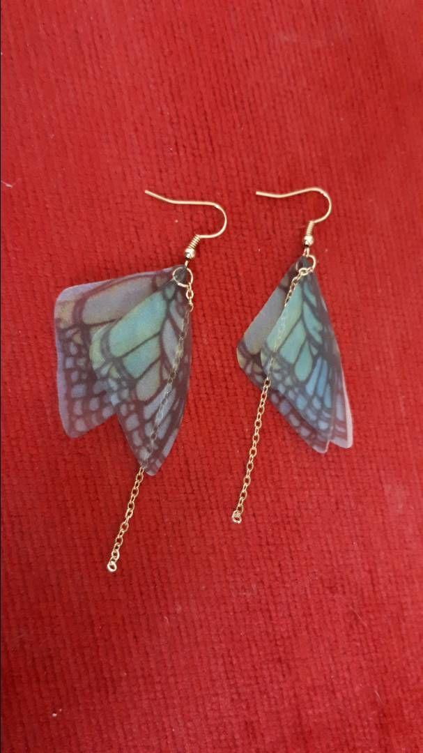 Dlouhé náušnice s motýlími křídly 0