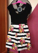 Sukienka Atmosphere paski kwiaty XS 34