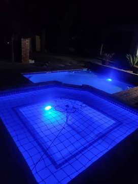 Swimming pool,borehole,irrigation/sprinklers and waterback up