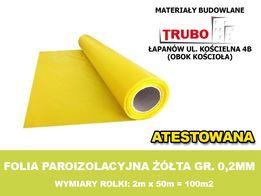 FOLIA PAROIZOLACYJNA ŻÓŁTA gr. 0,2mm 2mx50mb - atest