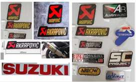 Suzuki Akrapovic heat proof aluminium exhaust silencer badges embles