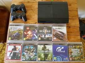 Ps3, logitech wheel and lots of games