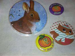 набор 4 значок брошь брошка импортные коллекция заяц тыквы сова фили
