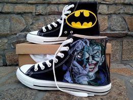 TRAMPKI JOKER batman ręcznie malowane czarne wysokie converse