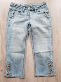 Spodnie jeansy 3/4 rybaczki r.XS
