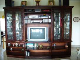 Antique Custom Made Sleeper Wood Wall Unit