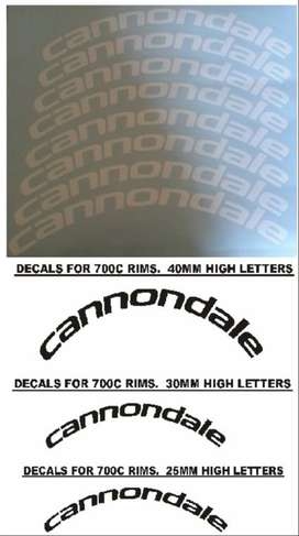 Cannondale bicycle wheel rim ( 700C ) decals stickers graphics kitsc