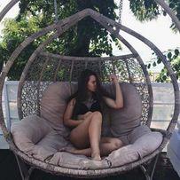 Садовая качеля Галант. Подвесное кресло кокон гамак из ротанга Наложка