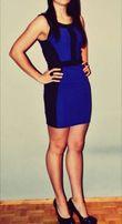 Mohito bandażowa dopasowana sukienka 36/S czarno niebieska