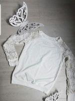 Bluza biała koronkowe rękawy boho nowa S 36