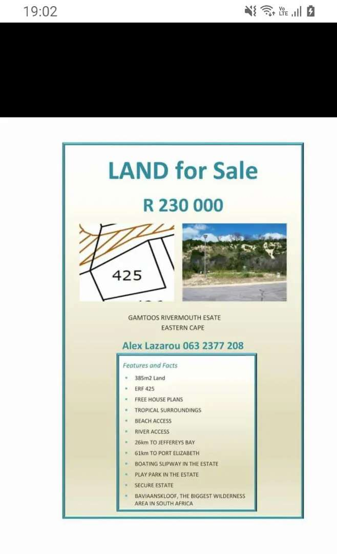 Gamtoos river mouth vacant land. Free house plans 0