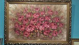 """Картина холст, масло """"Розы"""" авторская работа 50*80 см."""