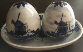 Delft hand painted salt and pepper shakers on a tray