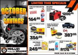 OCTOBER SAVINGS now on at Mhluzi Spares!